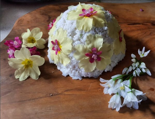 Homemade primrose & garlic goat's cheese